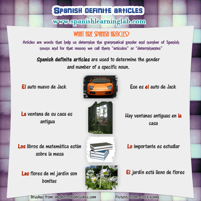 Articles in spanish in sentences and questions spanish learning lab