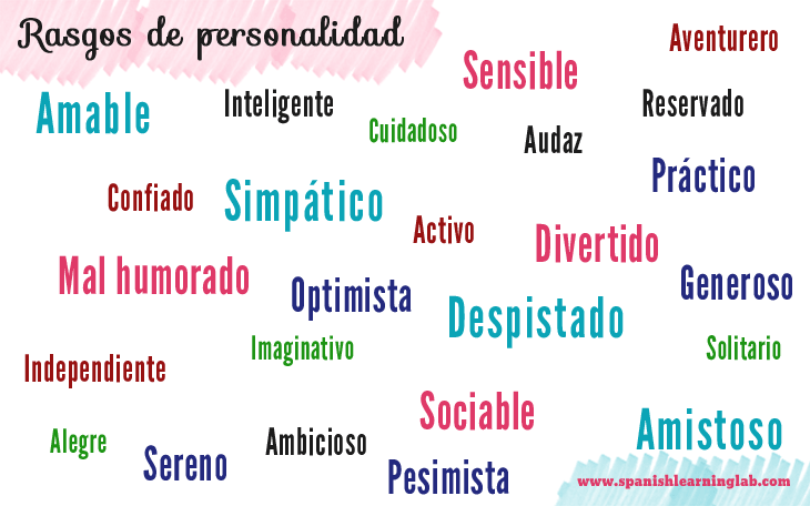 A list of personality traits in Spanish used to describe people's personality in Spanish