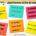 A list of activities for describing what you did last weekend in Spanish