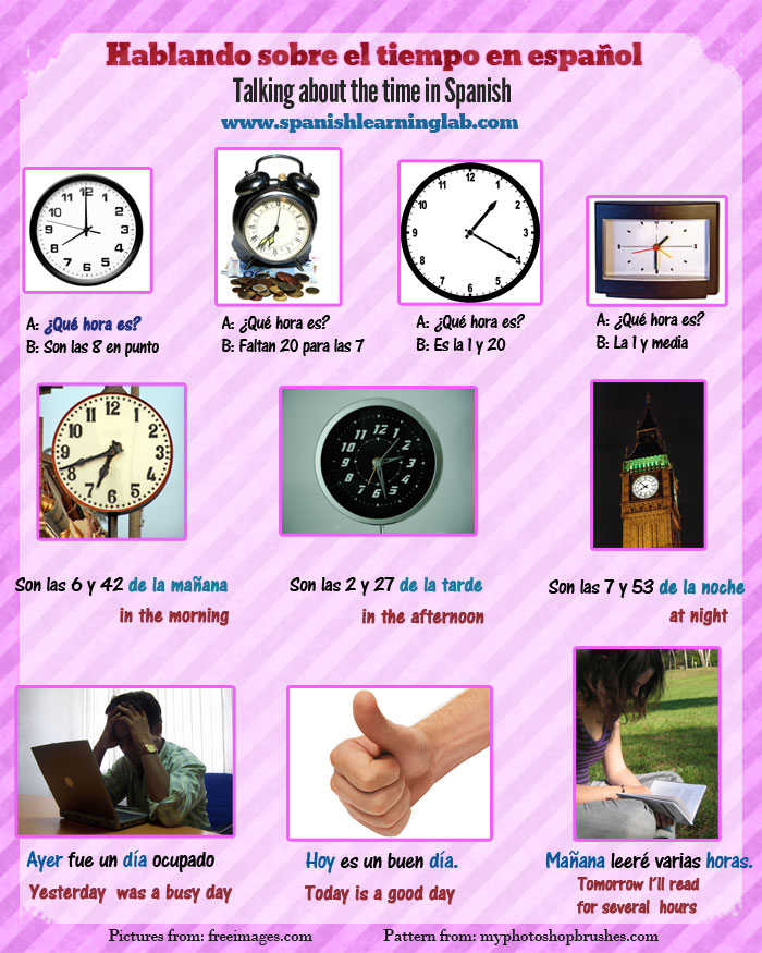 Talking about time in Spanish using common Spanish time phrases