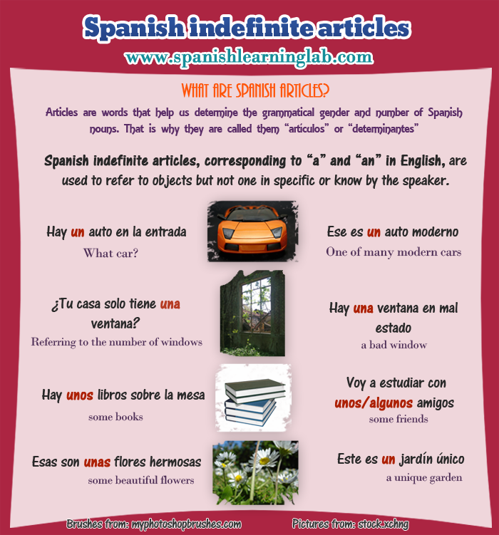 using indefinite articles in spanish: examples and exercises