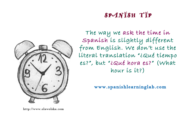 Expressions and questions for asking and telling time in Spanish