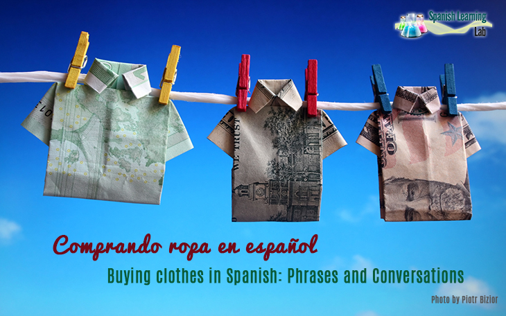 shopping for clothes in Spanish at a shop: phrases, questions and conversations about buying clothing