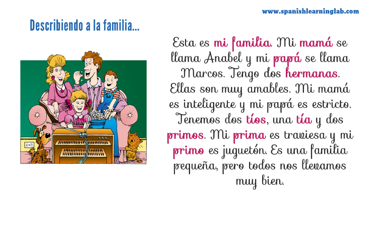 la familia  describing your family in spanish  spanishlearninglab my family in spanish  describing your family in spanish with adjectives  and ser