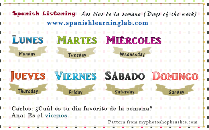 Days of the week in Spanish - Los días de la semana