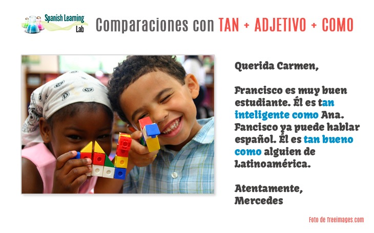 Comparing things in Spanish using TAN COMO plus adjectives