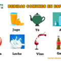 A list of common drinks in Spanish