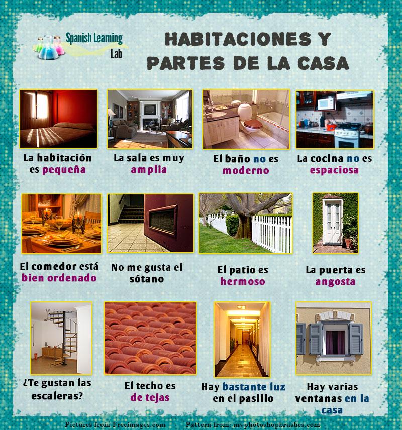 Oraciones sobre Habitaciones y partes de la casa en español