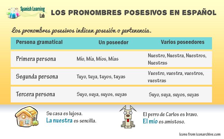 Los Pronombres Posesivos En Español Oraciones Y Ejercicios