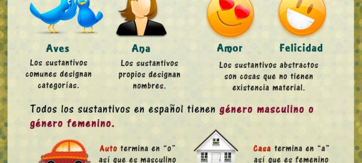 Los sustantivos en español - tipos de sustantivos, género, plural y singular