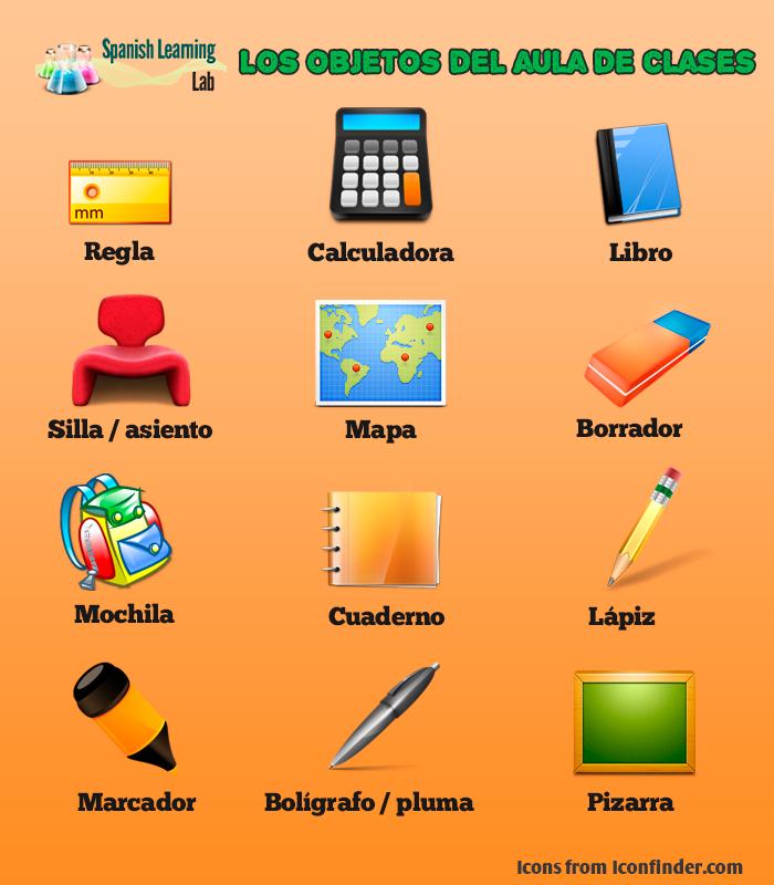 Los objetos del aula en espa ol lista y oraciones for 10 objetos en ingles del salon de clases