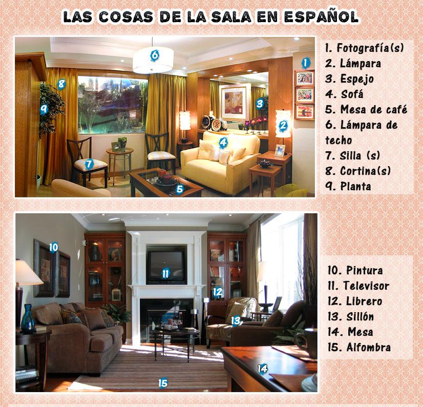 Los objetos de la sala en español