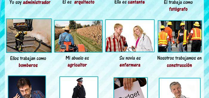 Oraciones y preguntas con el vocabulario sobre trabajos y profesiones en español