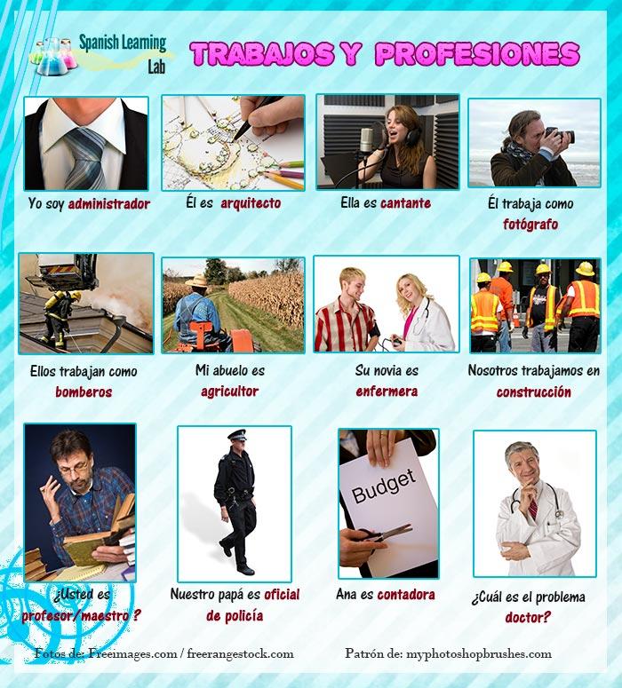 Trabajos Y Profesiones En Español Lista Oraciones Y