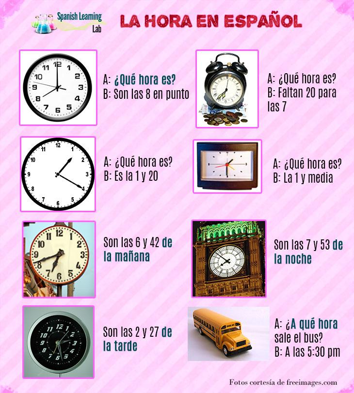 Formas de preguntar y decir la hora en español