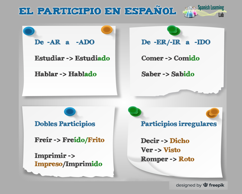 Forming the Past Participle in Spanish: examples & exercises ...