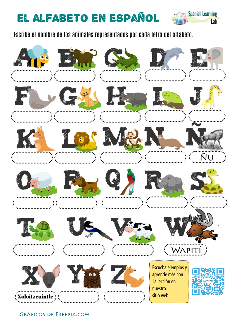Alphabet in Spanish with Animals: worksheet - PDF - SpanishLearningLab
