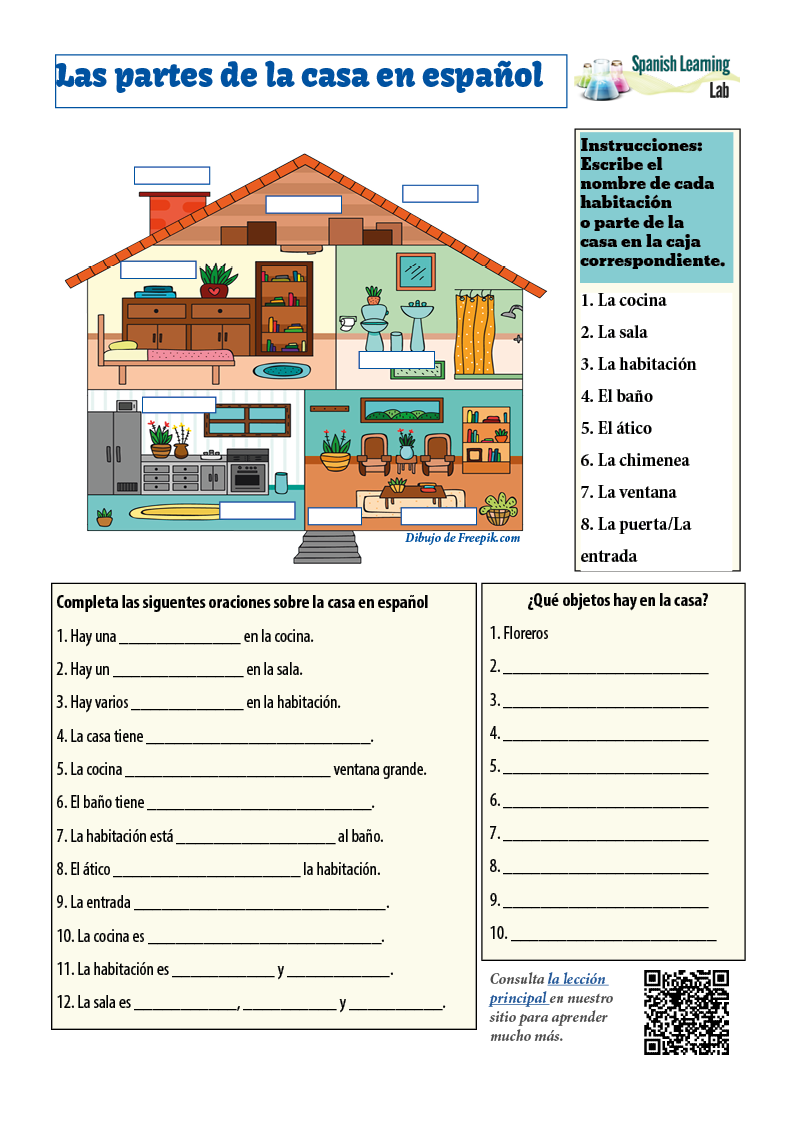 Rooms and Parts of the House in Spanish: PDF Worksheet ...