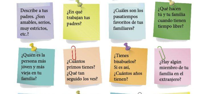 Preguntas sobre la familia en español ejercicios en pdf