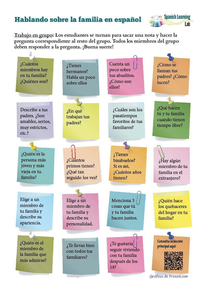 Questions about the Family in Spanish: PDF Worksheet