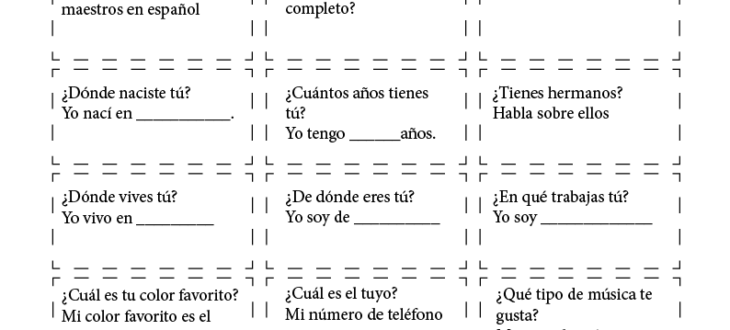 Talking about Yourself in Spanish: PDF Worksheet