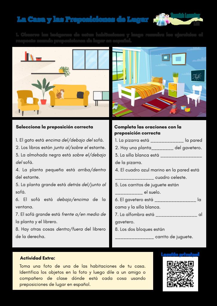 The house and prepositions of place - Spanish Worksheet PDF La Casa y las Preposiciones de lugar en español - Hoja de trabajo PDF