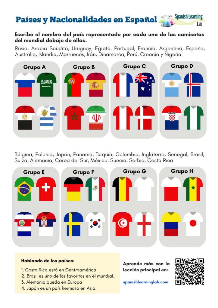 Countries in Spanish Worksheet in the World Cup Hoja de trabajo países en español