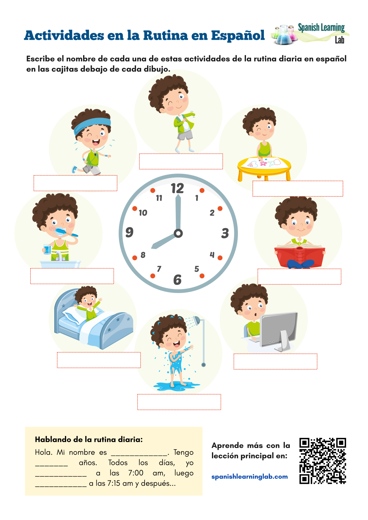 Daily Activities in Spanish - PDF Worksheet - SpanishLearningLab