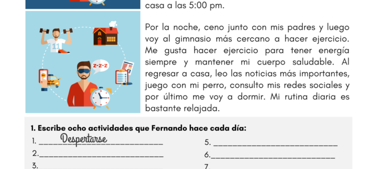 daily routine in Spanish worksheet rutina diaria español hoja de trabajo