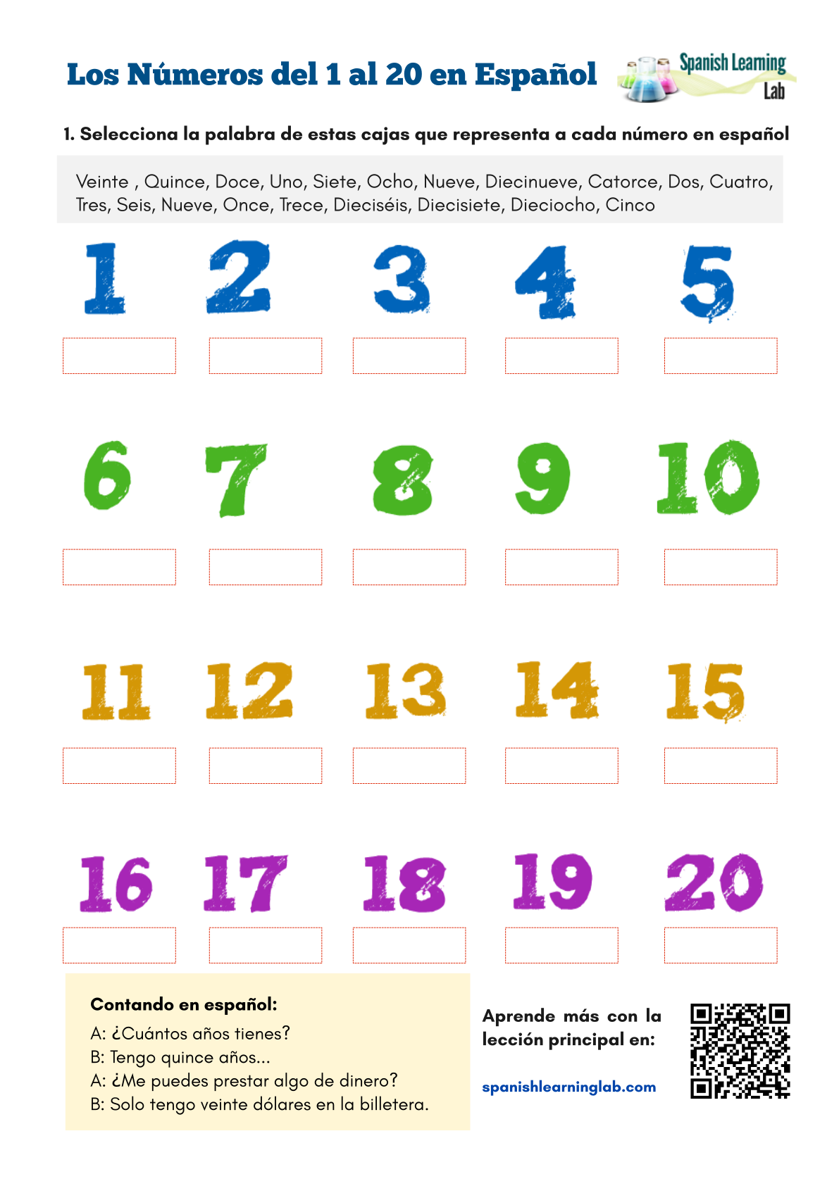 Numbers in Spanish from 1 to 20 - PDF Worksheet ...