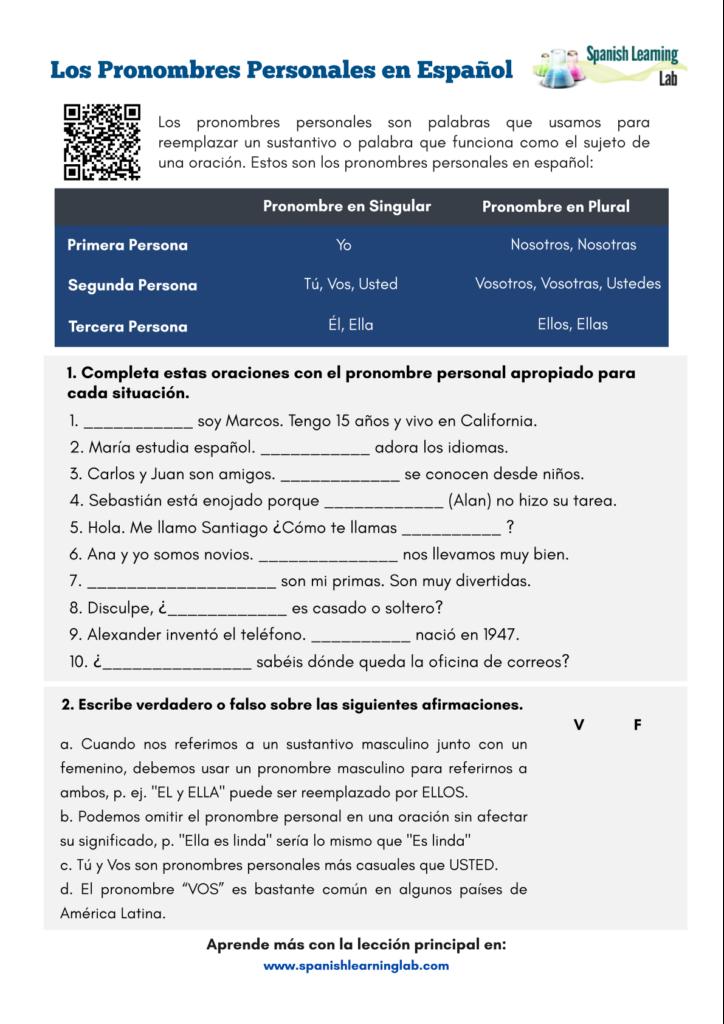 subject pronouns spanish worksheet ejercicios pronombres personales español