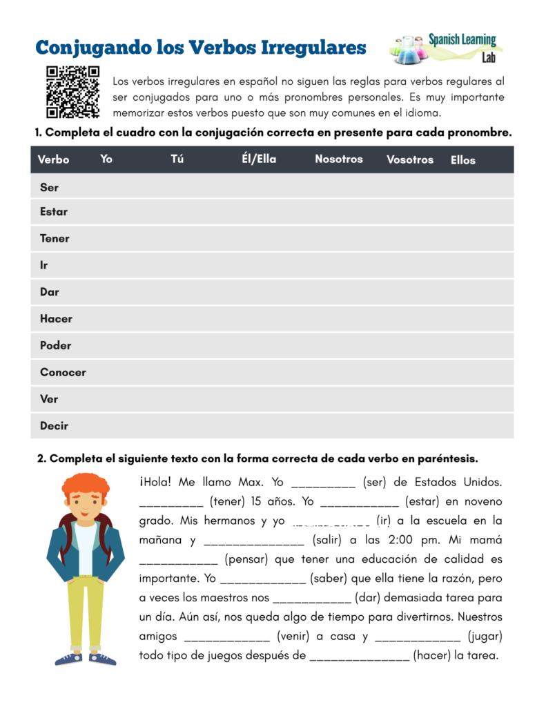 Conjugating Irregular Verbs in Spanish - PDF Worksheet - Conjugando los verbos irregulares en español ejercicios