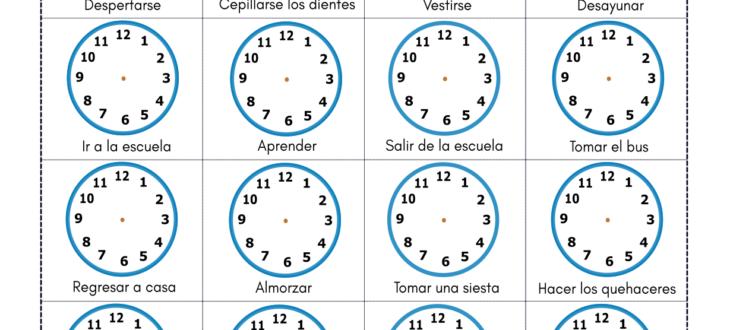 daily activities and time in Spanish pdf worksheet la hora en español ejercicios actividades diarias