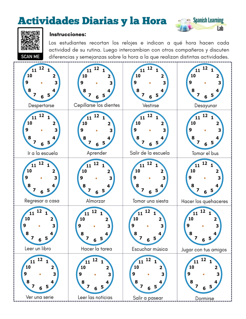 Daily Activities Time In Spanish Pdf Worksheet Spanishlearninglab
