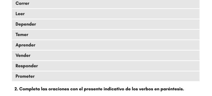 Conjugating -ER Regular Verbs in Spanish (Present) - PDF Worksheet Los verbos regulares con terminación ER ejercicios