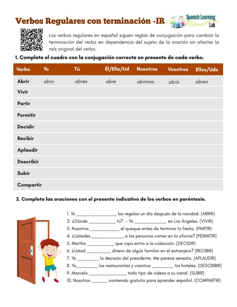 Conjugating -IR Regular Verbs in Spanish (Present) - PDF Worksheet - Los verbos regulares con terminación IR en español