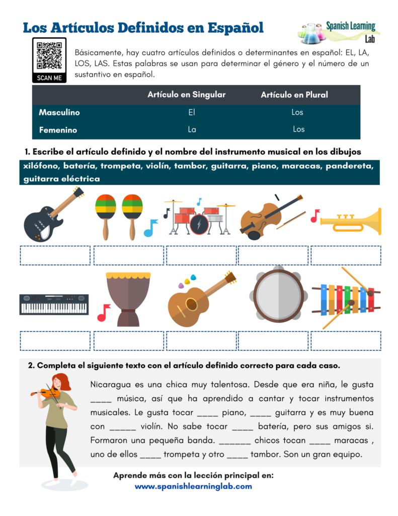 los articulos definidos en español ejercicios definite articles in Spanish pdf worksheet