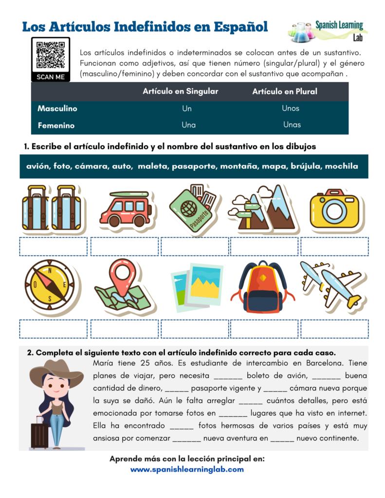 Los Artículos Indefinidos en Español Ejercicios en PDF Indefinite articles in Spanish worksheet pdf