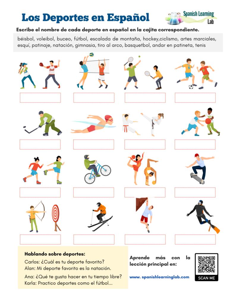los deportes en español ejercicios hoja de trabajo PDF Sports in Spanish Worksheet PDF