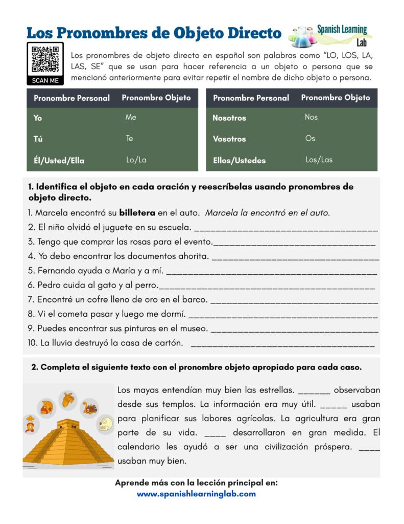 los pronombres de objeto directo en español ejercicios direct object pronouns Spanish worksheet