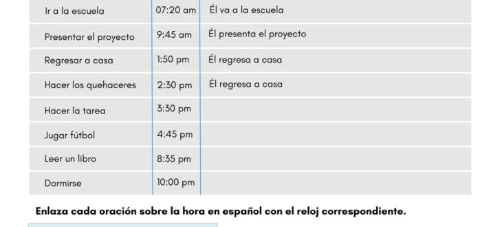 Telling Time in Spanish - PDF Worksheet Diciendo la hora en español ejercicios