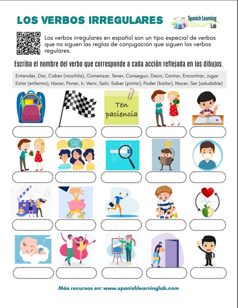 Los Verbos Irregulares En Español Ejercicios En Pdf Spanishlearninglab