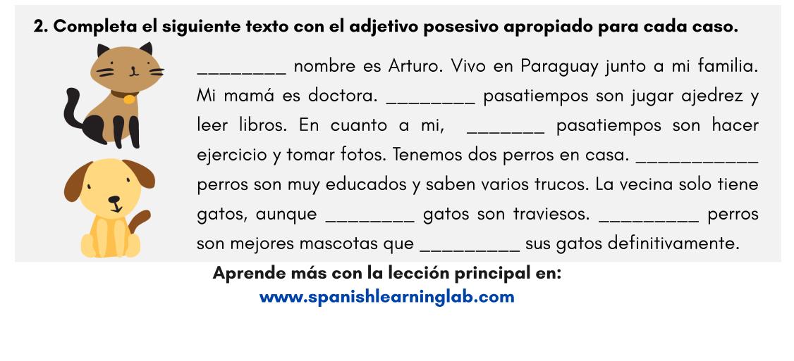 Adjetivos Posesivos En Español Ejercicios En Pdf Spanishlearninglab