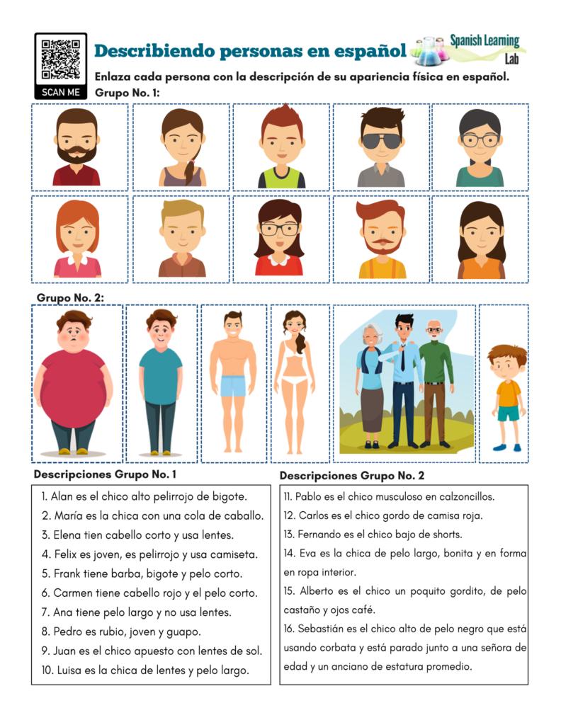 Describing People in Spanish - PDF Worksheet Describiendo personas en español ejercicios en PDF