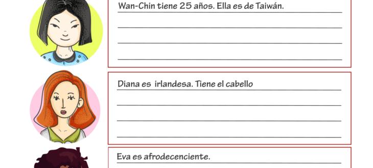 las descripciones físicas en español ejercicios PDF physical descriptions in Spanish worksheet