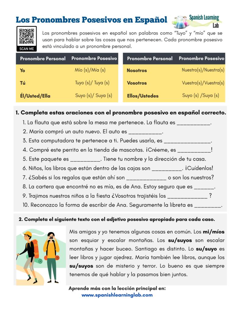 los pronombres posesivos en español hoja de trabajo possessive pronouns in Spanish pdf worksheet