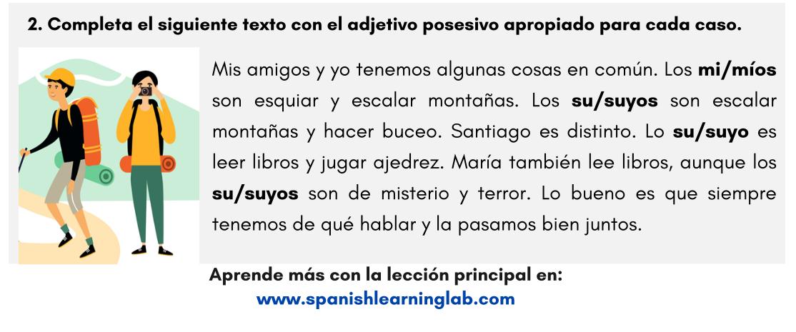 Los Pronombres Posesivos En Español Ejercicios En Pdf
