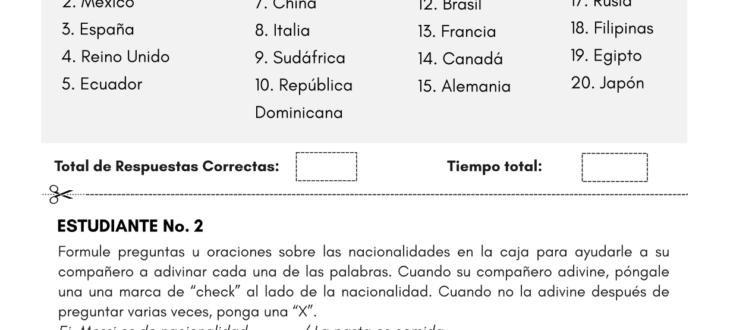 countries and nationalities in Spanish worksheet países y nacionalidades en español ejercicios pdf