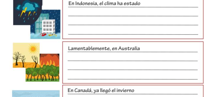 Describing the Weather in Spanish - PDF Worksheet Describiendo el clima en español hoja de trabajo ejercicios pdf