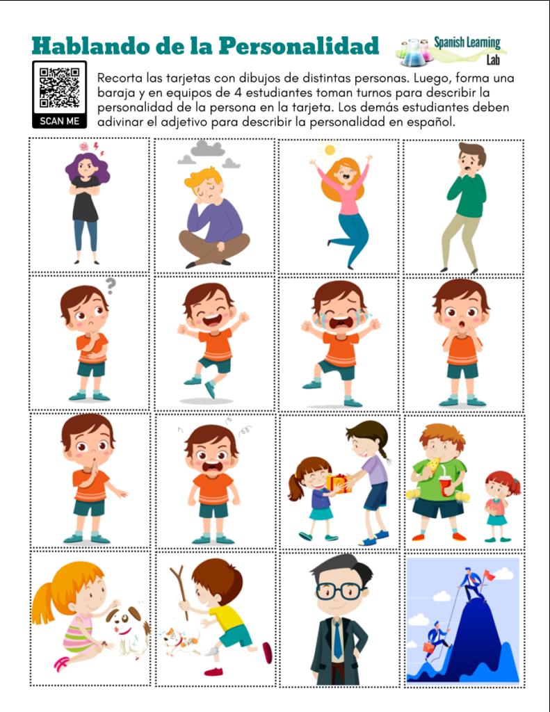 talking about personality in Spanish pdf worksheet hablando de personalidad en español ejercicios